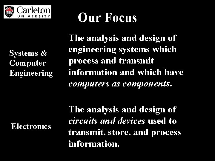 Our Focus Systems & Computer Engineering The analysis and design of engineering systems which