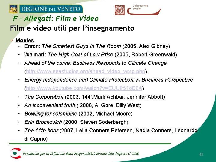 F – Allegati: Film e Video Film e video utili per l'insegnamento ‣ Movies