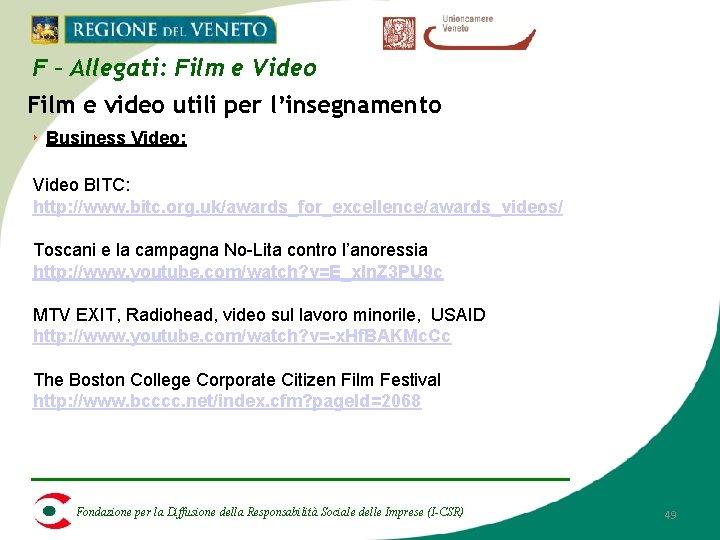 F – Allegati: Film e Video Film e video utili per l'insegnamento ‣ Business