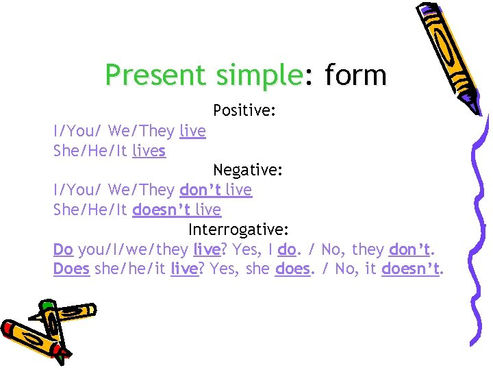 Present simple: form Positive: I/You/ We/They live She/He/It lives Negative: I/You/ We/They don't live