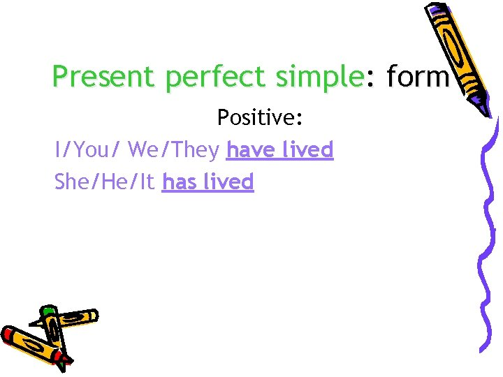 Present perfect simple: form Positive: I/You/ We/They have lived She/He/It has lived