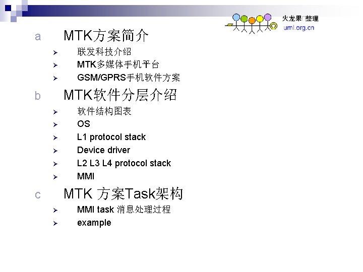 MTK方案简介 a Ø Ø Ø 联发科技介绍 MTK多媒体手机平台 GSM/GPRS手机软件方案 MTK软件分层介绍 b Ø Ø Ø 软件结构图表