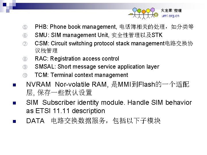 ⑤ ⑥ ⑦ ⑧ ⑨ ⑩ n n n PHB: Phone book management, 电话簿相关的处理,如分类等