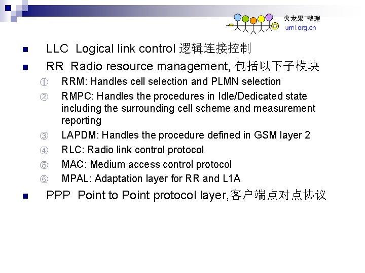 n n LLC Logical link control 逻辑连接控制 RR Radio resource management, 包括以下子模块 ① ②