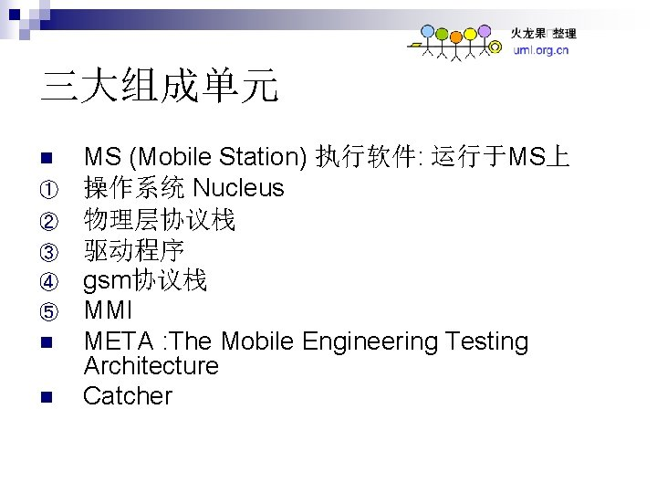 三大组成单元 n ① ② ③ ④ ⑤ n n MS (Mobile Station) 执行软件: 运行于MS上