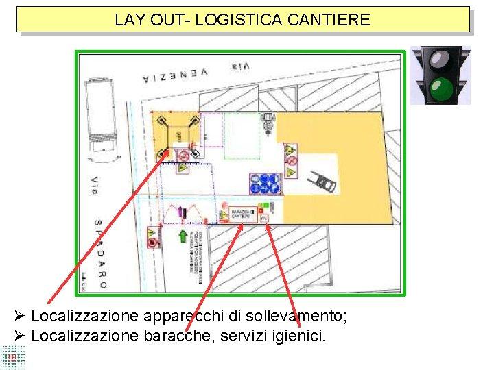 LAY OUT- LOGISTICA CANTIERE Localizzazione apparecchi di sollevamento; Localizzazione baracche, servizi igienici.