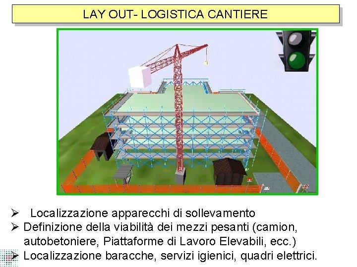 LAY OUT- LOGISTICA CANTIERE Localizzazione apparecchi di sollevamento Definizione della viabilità dei mezzi pesanti