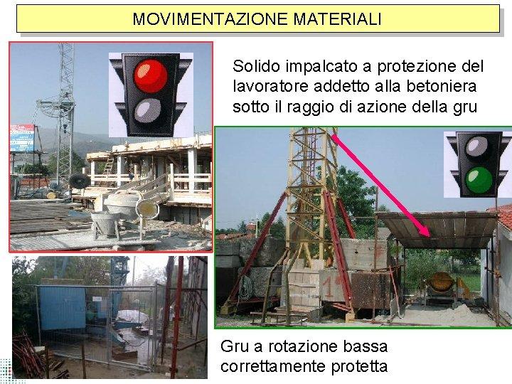 MOVIMENTAZIONE MATERIALI Solido impalcato a protezione del lavoratore addetto alla betoniera sotto il raggio