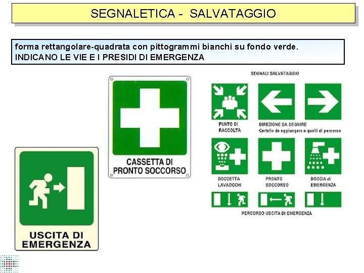 SEGNALETICA - SALVATAGGIO forma rettangolare-quadrata con pittogrammi bianchi su fondo verde. INDICANO LE VIE