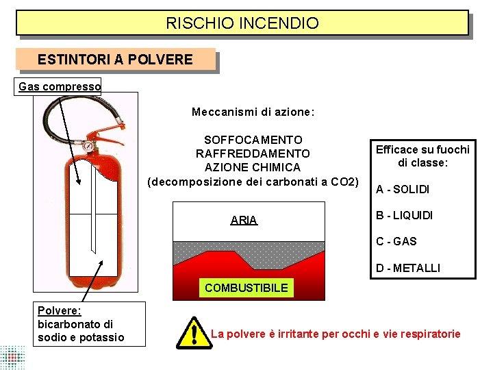 RISCHIO INCENDIO ESTINTORI A POLVERE Gas compresso Meccanismi di azione: SOFFOCAMENTO RAFFREDDAMENTO AZIONE CHIMICA