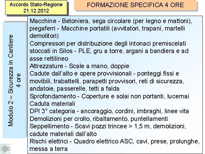 Modulo 2 – Sicurezza in Cantiere 4 ore Accordo Stato-Regione 21. 12. 2012 FORMAZIONE