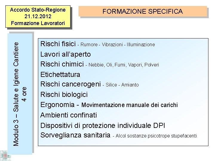 Modulo 3 – Salute e Igiene Cantiere 4 ore Accordo Stato-Regione 21. 12. 2012