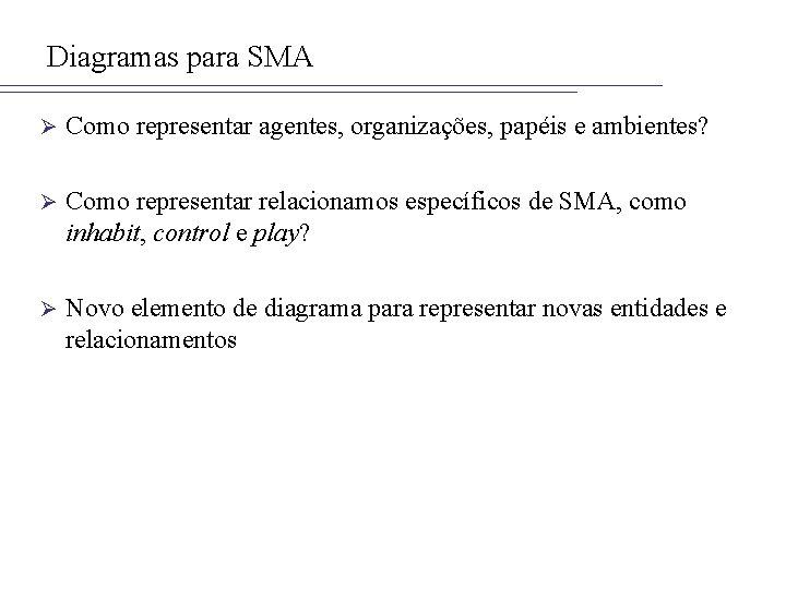 Diagramas para SMA Ø Como representar agentes, organizações, papéis e ambientes? Ø Como representar