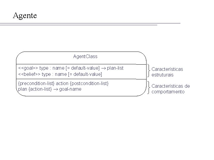 Agente Agent. Class <<goal>> type : name [= default-value] plan-list <<belief>> type : name