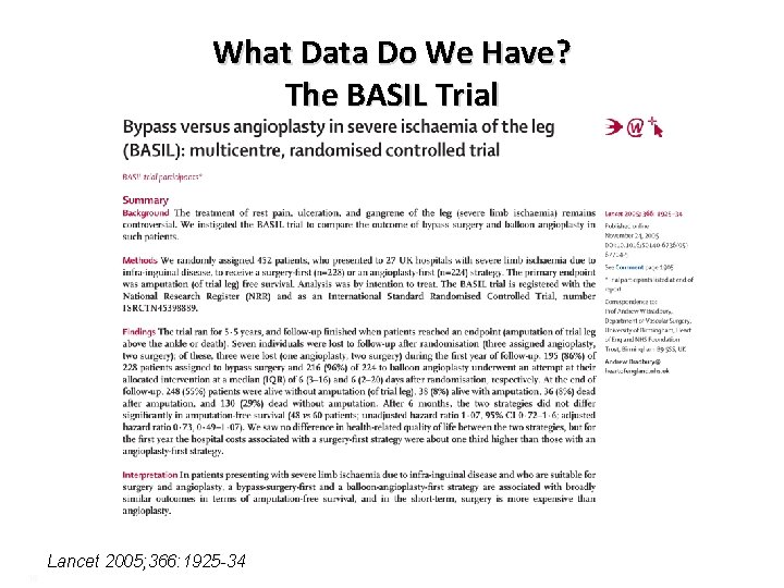 What Data Do We Have? The BASIL Trial Lancet 2005; 366: 1925 -34 16