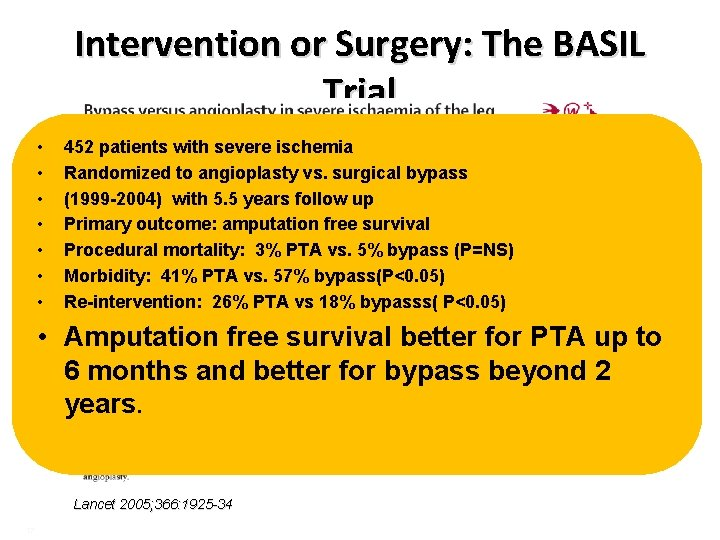 Intervention or Surgery: The BASIL Trial • • 452 patients with severe ischemia Randomized