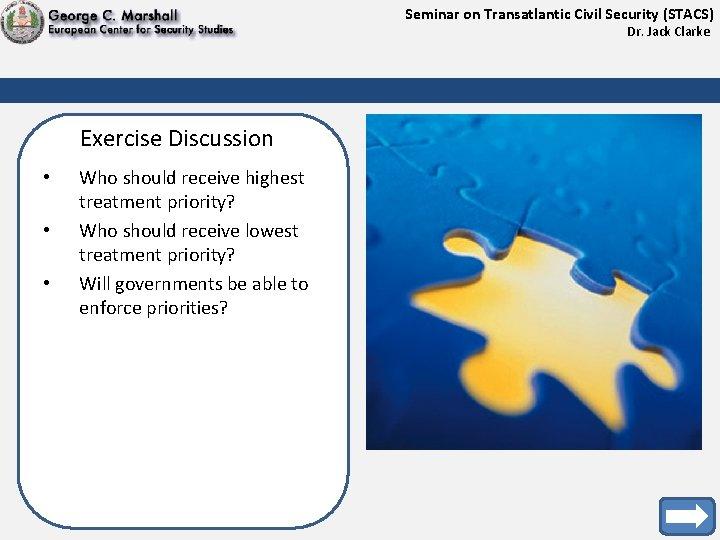 Seminar on Transatlantic Civil Security (STACS) Dr. Jack Clarke Exercise Discussion • • •