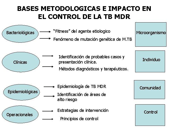"""BASES METODOLOGICAS E IMPACTO EN EL CONTROL DE LA TB MDR Bacteriológicas """"Fitness"""" del"""