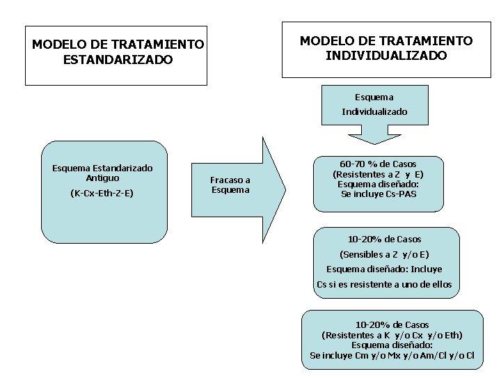 MODELO DE TRATAMIENTO INDIVIDUALIZADO MODELO DE TRATAMIENTO ESTANDARIZADO Esquema Individualizado Esquema Estandarizado Antiguo (K-Cx-Eth-Z-E)