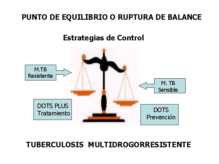 PUNTO DE EQUILIBRIO O RUPTURA DE BALANCE Estrategias de Control M. TB Resistente M.