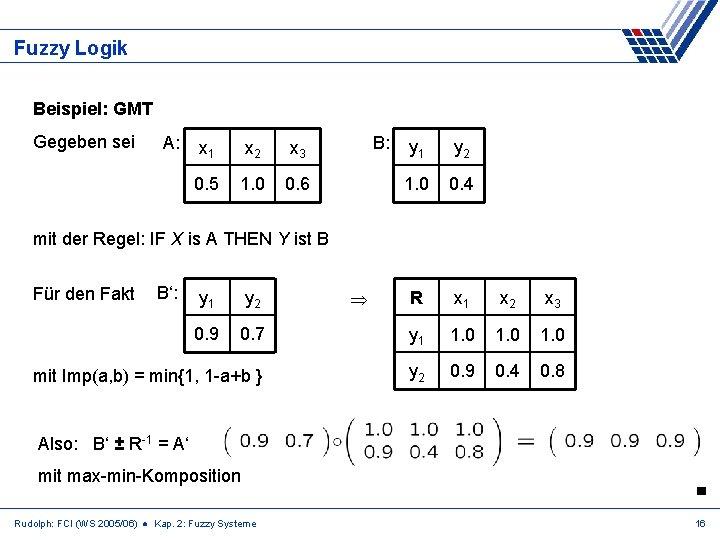 Fuzzy Logik Beispiel: GMT Gegeben sei A: x 1 x 2 x 3 0.