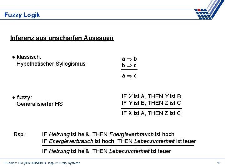 Fuzzy Logik Inferenz aus unscharfen Aussagen ● klassisch: Hypothetischer Syllogismus a b b c
