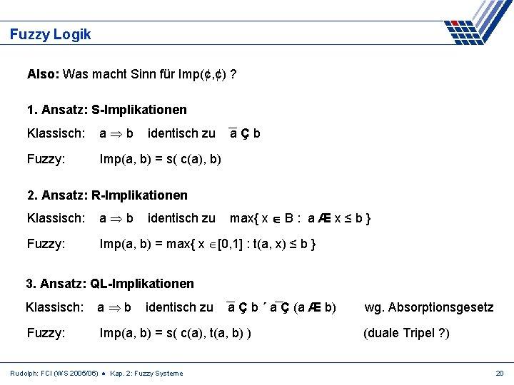 Fuzzy Logik Also: Was macht Sinn für Imp(¢, ¢) ? 1. Ansatz: S-Implikationen Klassisch: