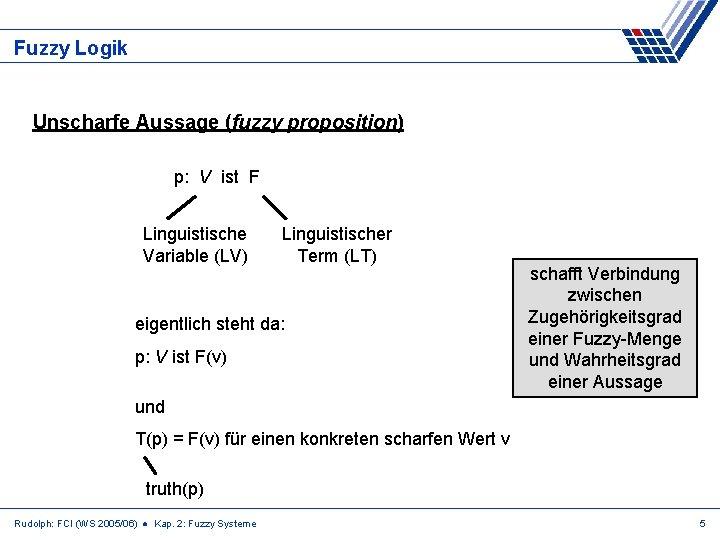 Fuzzy Logik Unscharfe Aussage (fuzzy proposition) p: V ist F Linguistische Variable (LV) Linguistischer