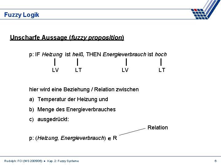Fuzzy Logik Unscharfe Aussage (fuzzy proposition) p: IF Heizung ist heiß, THEN Energieverbrauch ist