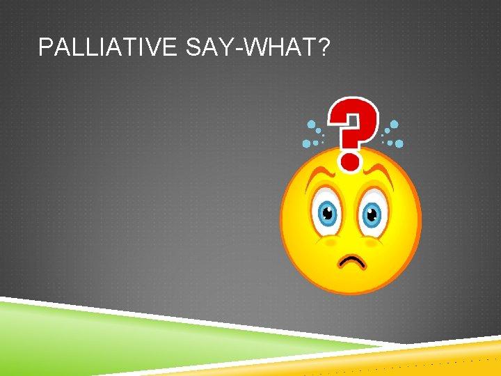 PALLIATIVE SAY-WHAT?