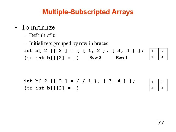 Multiple-Subscripted Arrays • To initialize – Default of 0 – Initializers grouped by row