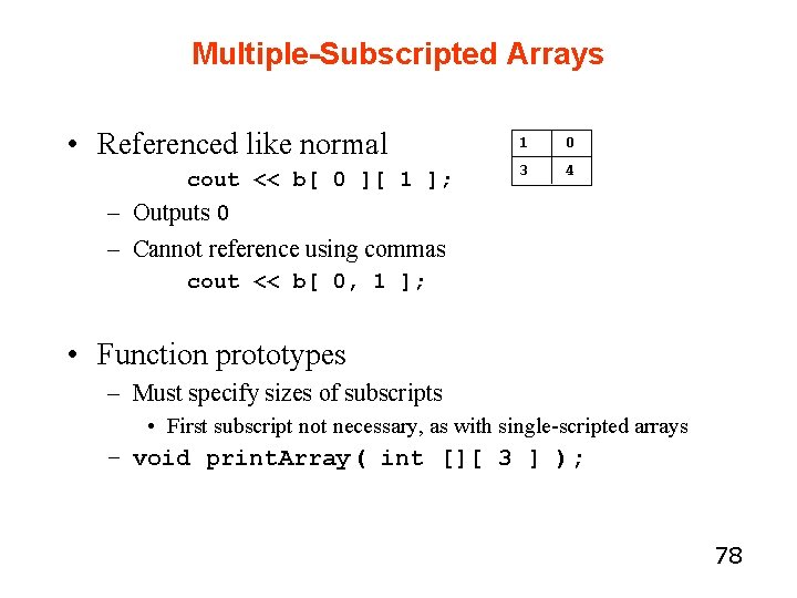 Multiple-Subscripted Arrays • Referenced like normal cout << b[ 0 ][ 1 ]; 1