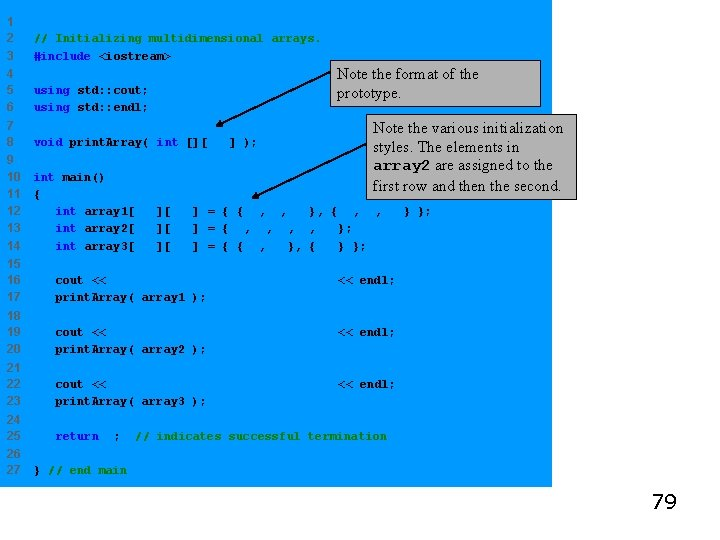 1 2 3 // Initializing multidimensional arrays. #include <iostream> Note the format of the