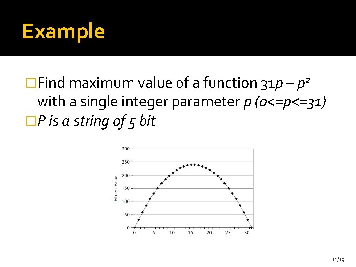 Example �Find maximum value of a function 31 p – p 2 with a