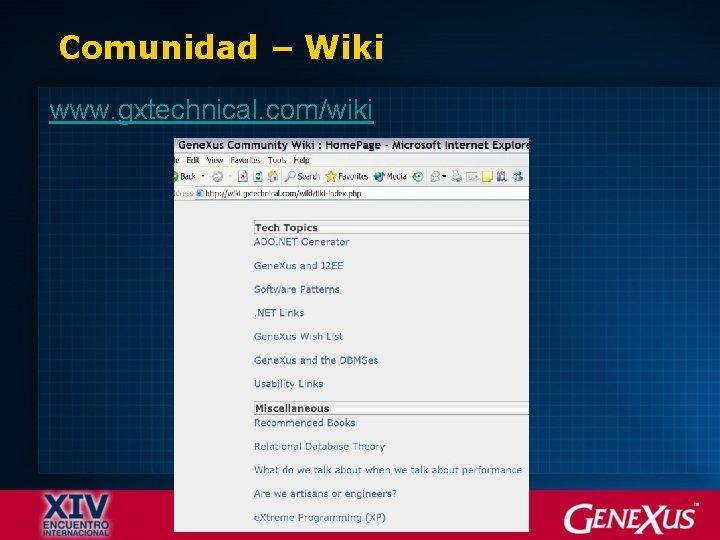 Comunidad – Wiki www. gxtechnical. com/wiki