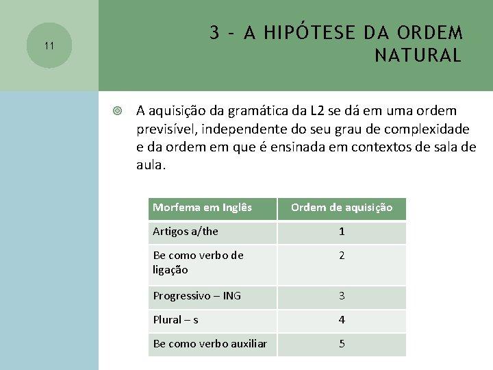 3 – A HIPÓTESE DA ORDEM NATURAL 11 A aquisição da gramática da L