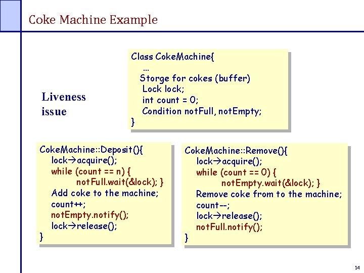 Coke Machine Example Liveness issue Class Coke. Machine{ … Storge for cokes (buffer) Lock