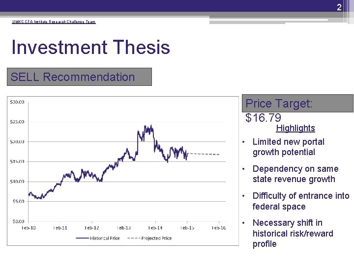 2 UMKC CFA Institute Research Challenge Team Investment Thesis SELL Recommendation Price Target: $16.