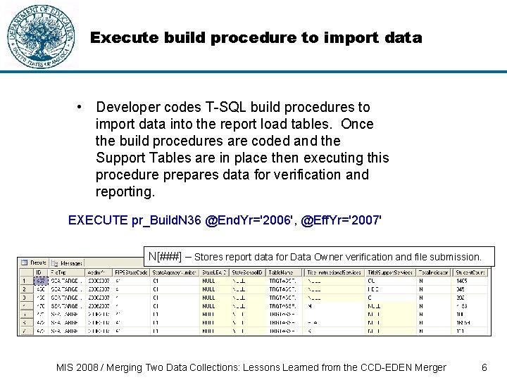 Execute build procedure to import data • Developer codes T-SQL build procedures to import