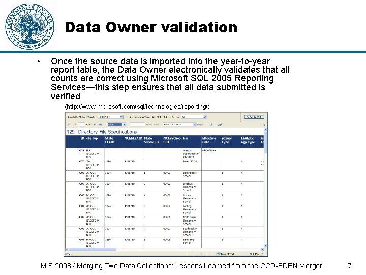Data Owner validation • Once the source data is imported into the year-to-year report