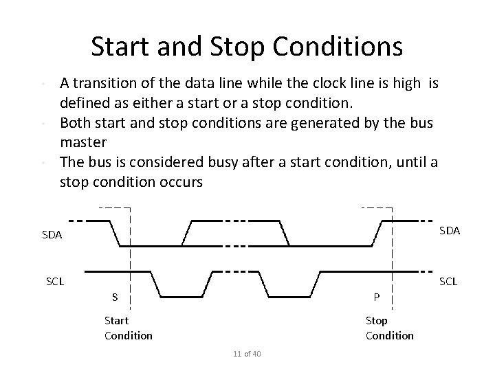 Start and Stop Conditions • • • A transition of the data line while