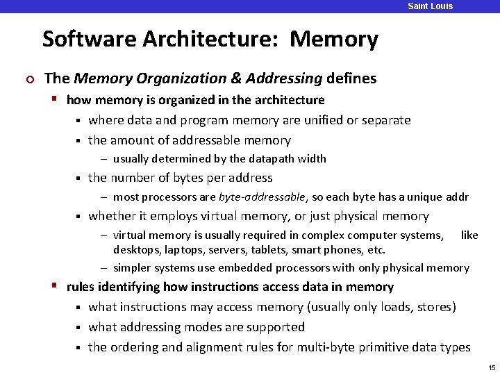 Saint Louis University Software Architecture: Memory ¢ The Memory Organization & Addressing defines §