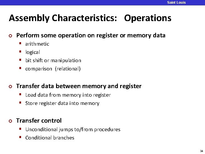 Saint Louis University Assembly Characteristics: Operations ¢ Perform some operation on register or memory