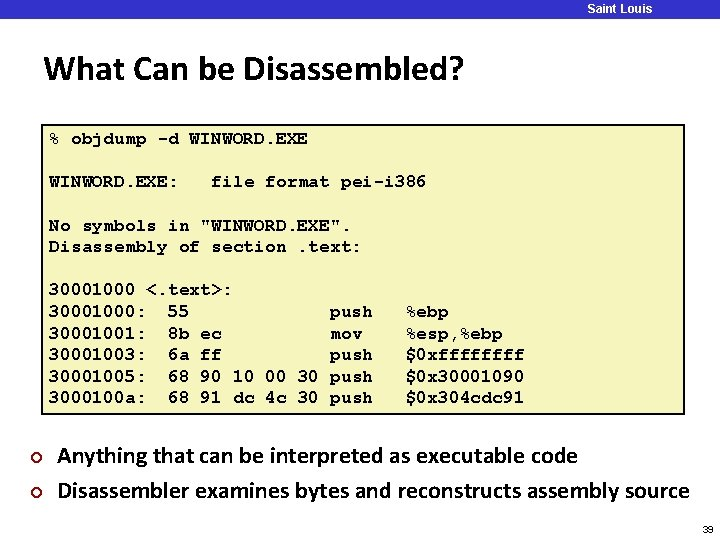 Saint Louis University What Can be Disassembled? % objdump -d WINWORD. EXE: file format