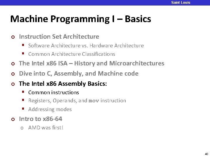 Saint Louis University Machine Programming I – Basics ¢ Instruction Set Architecture § Software