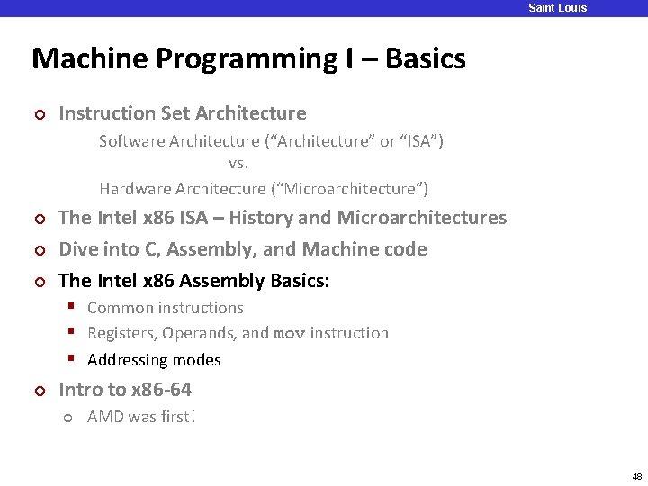 Saint Louis University Machine Programming I – Basics ¢ Instruction Set Architecture Software Architecture