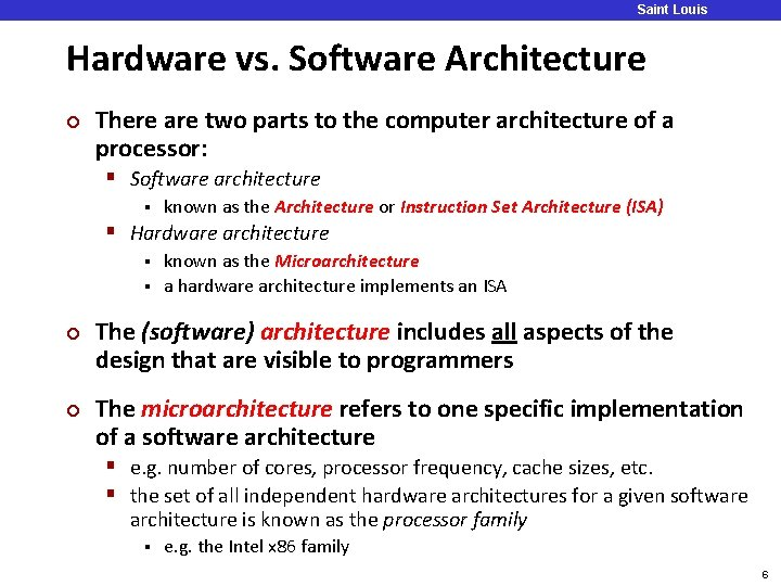 Saint Louis University Hardware vs. Software Architecture ¢ There are two parts to the