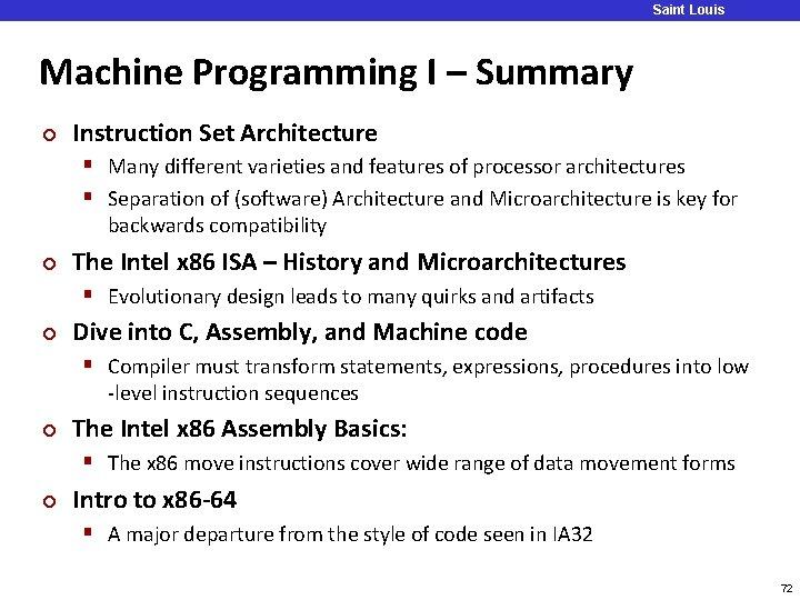 Saint Louis University Machine Programming I – Summary ¢ Instruction Set Architecture § Many