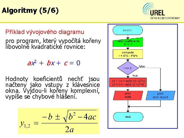 Algoritmy (5/6) Příklad vývojového diagramu program, který vypočítá kořeny libovolné kvadratické rovnice: ax 2