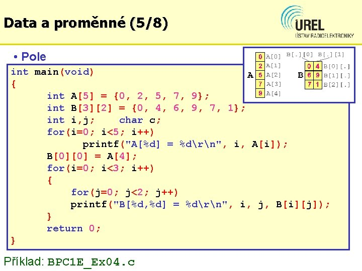 Data a proměnné (5/8) • Pole int main(void) { int A[5] = {0, 2,